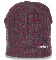Брендовая женская зимняя шапка бини Umbro утепленная флисом стильного дизайна
