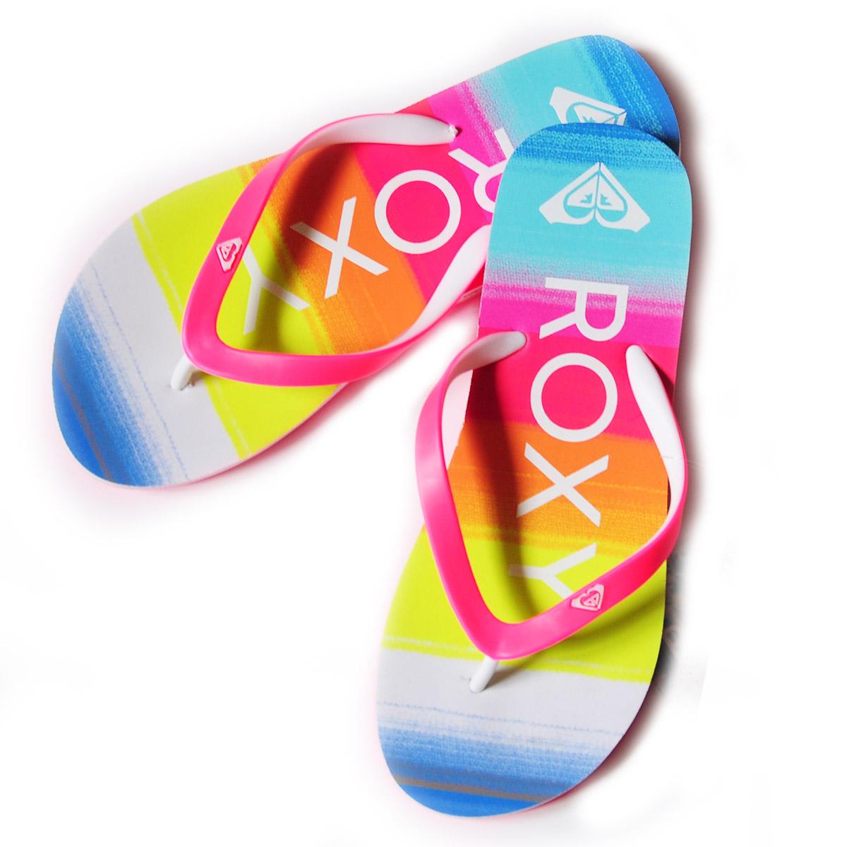 Заказать брендовые радужные шлепанцы от Roxy