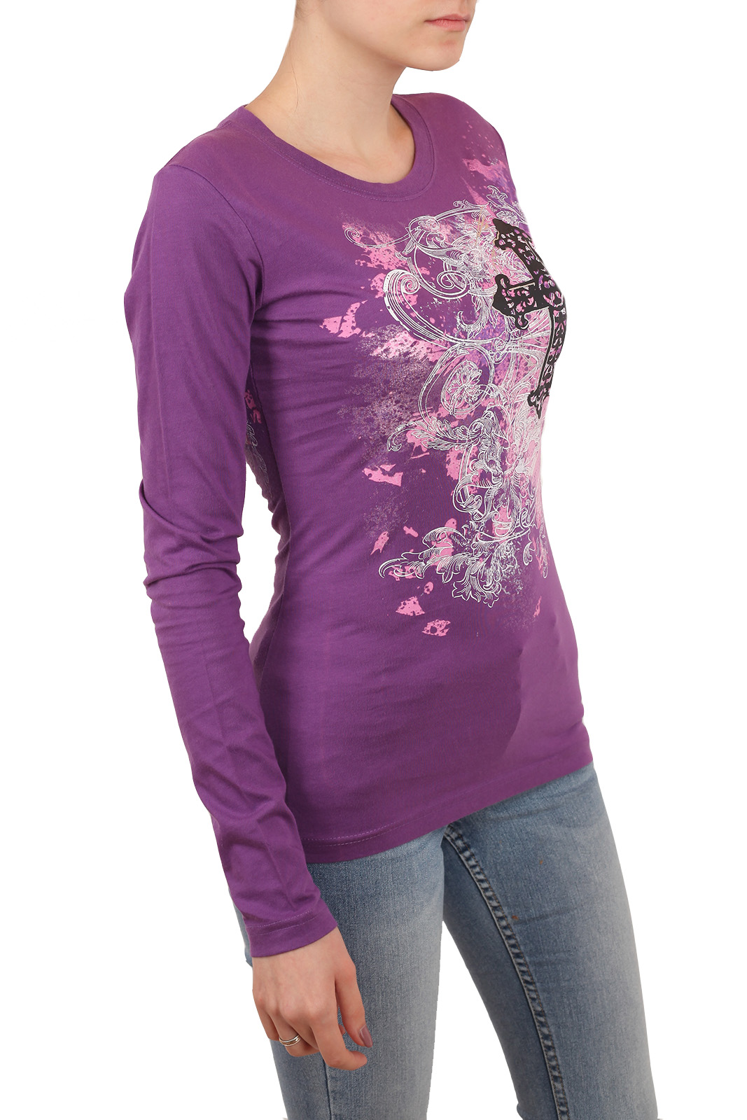 Брендовый реглан Rock and Roll Cowgirl в готик-стиле. Фантазийный принт, модный лиловый цвет и возможность купить прямо СЕЙЧАС!