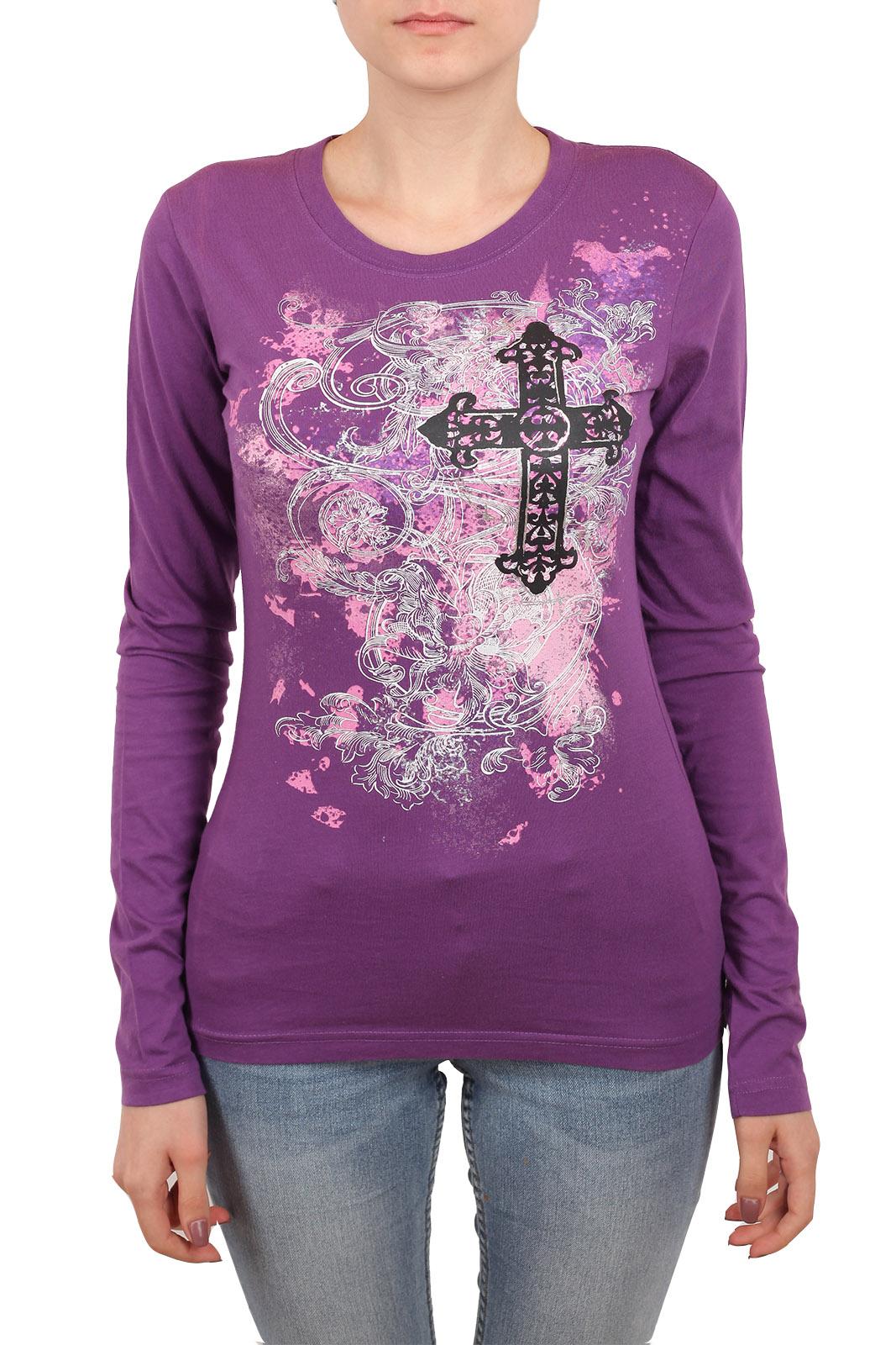Фиолетовый женский реглан с принтом
