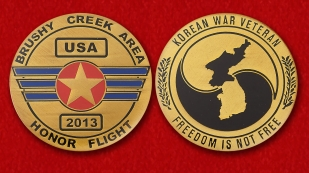 Veterans of the Korean War Challenge Coin - obverse and reverse