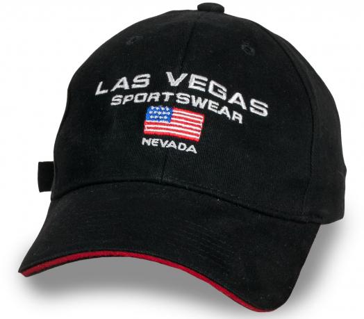 Брутальная черная бейсболка Las Vegas