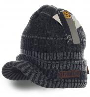 Брутальная меланжевая мужская шапка от G. T. Hawrins с козырьком