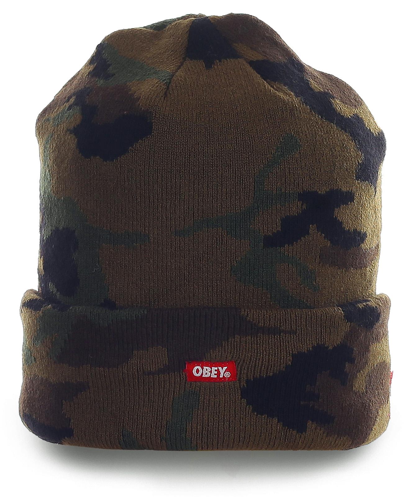 Брутальная шапка Obey в цвете камуфляж. Практичная модель для настоящих мужчин