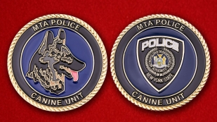 Canine Service Transport Police Department of New York Challenge Coin - obverse and reverse