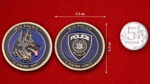Canine Service Transport Police Department of New York Challenge Coin - comparative size