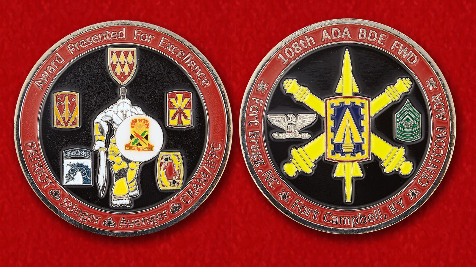 "Challenge Coin ""108th Air Defense Artillery Brigade""- obverse and reverse"