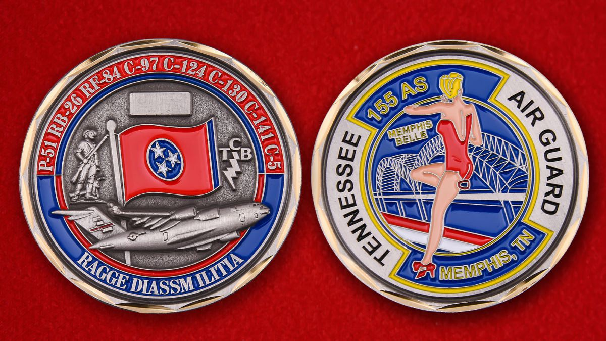 Challenge Coin 155 Squadron Air Transport - obverse and reverse