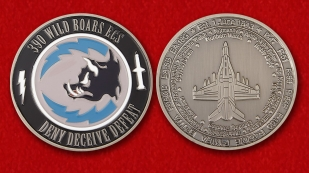 "Challenge Coin ""390th Electronic Combat Squadron"" - obverse and reverse"