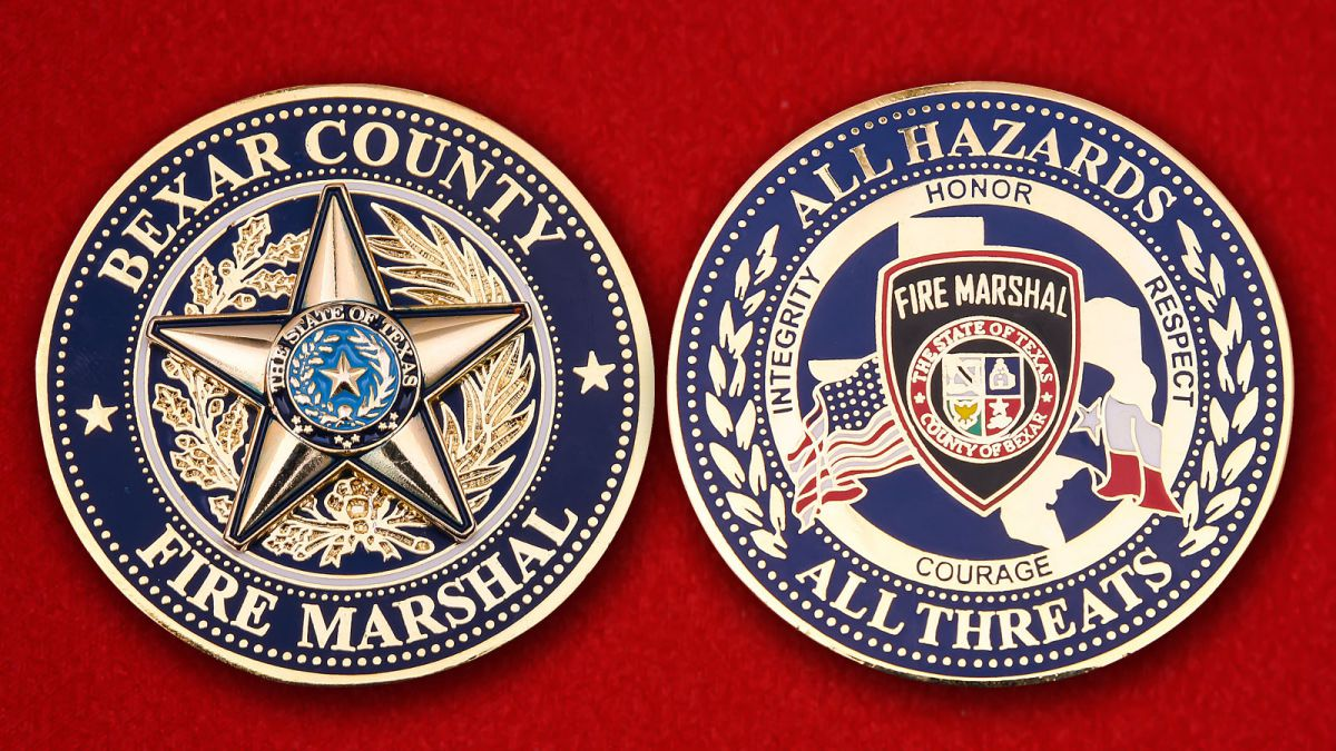Challenge coin Bexar County Fire - obverse and reverse