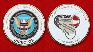"Challenge Coin ""Captain James A. Lovell Federal Health Care Center"" - obverse and reverse"