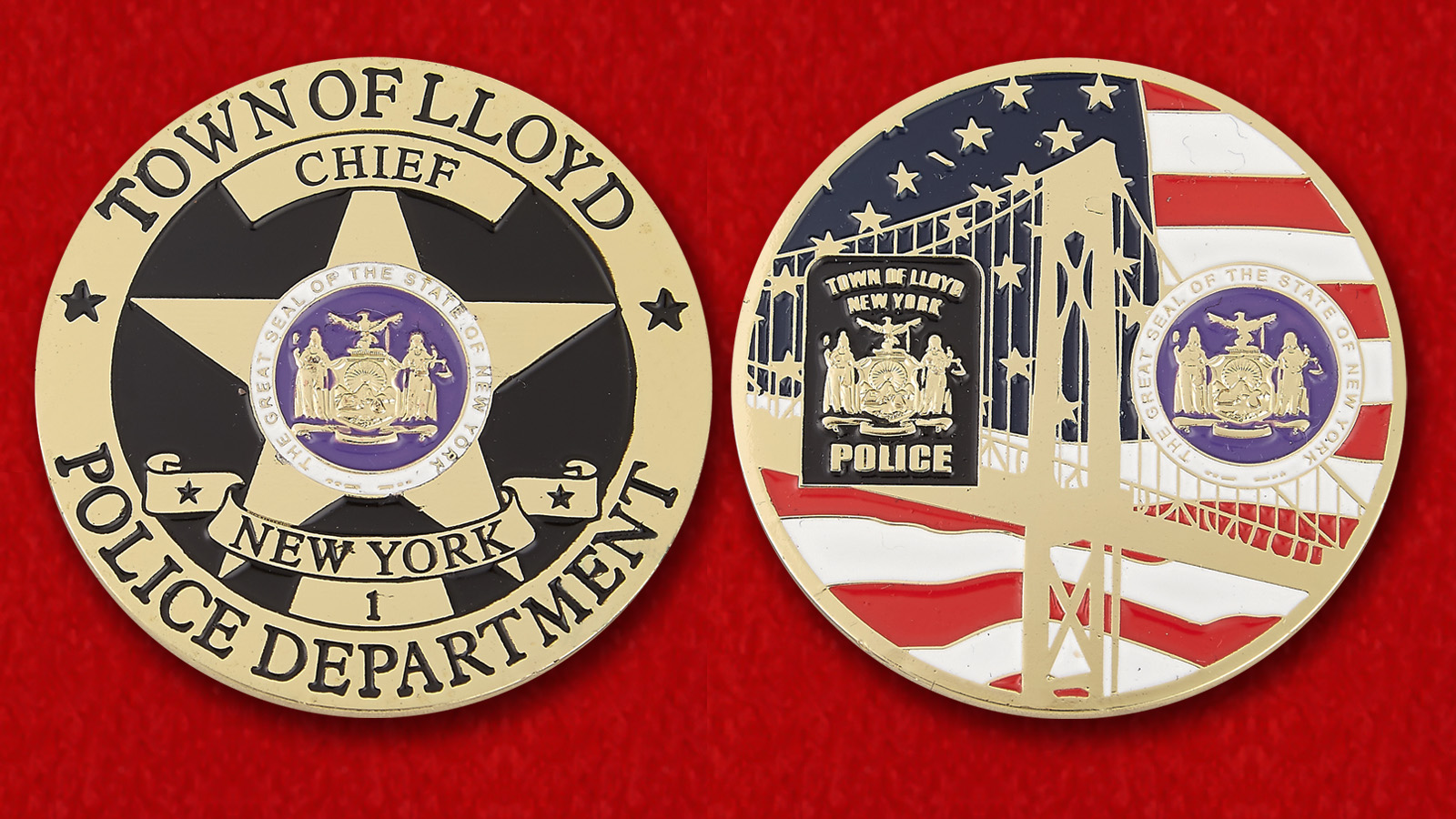 Challenge coin chief of the Police Department Lloyd - obverse and reverse
