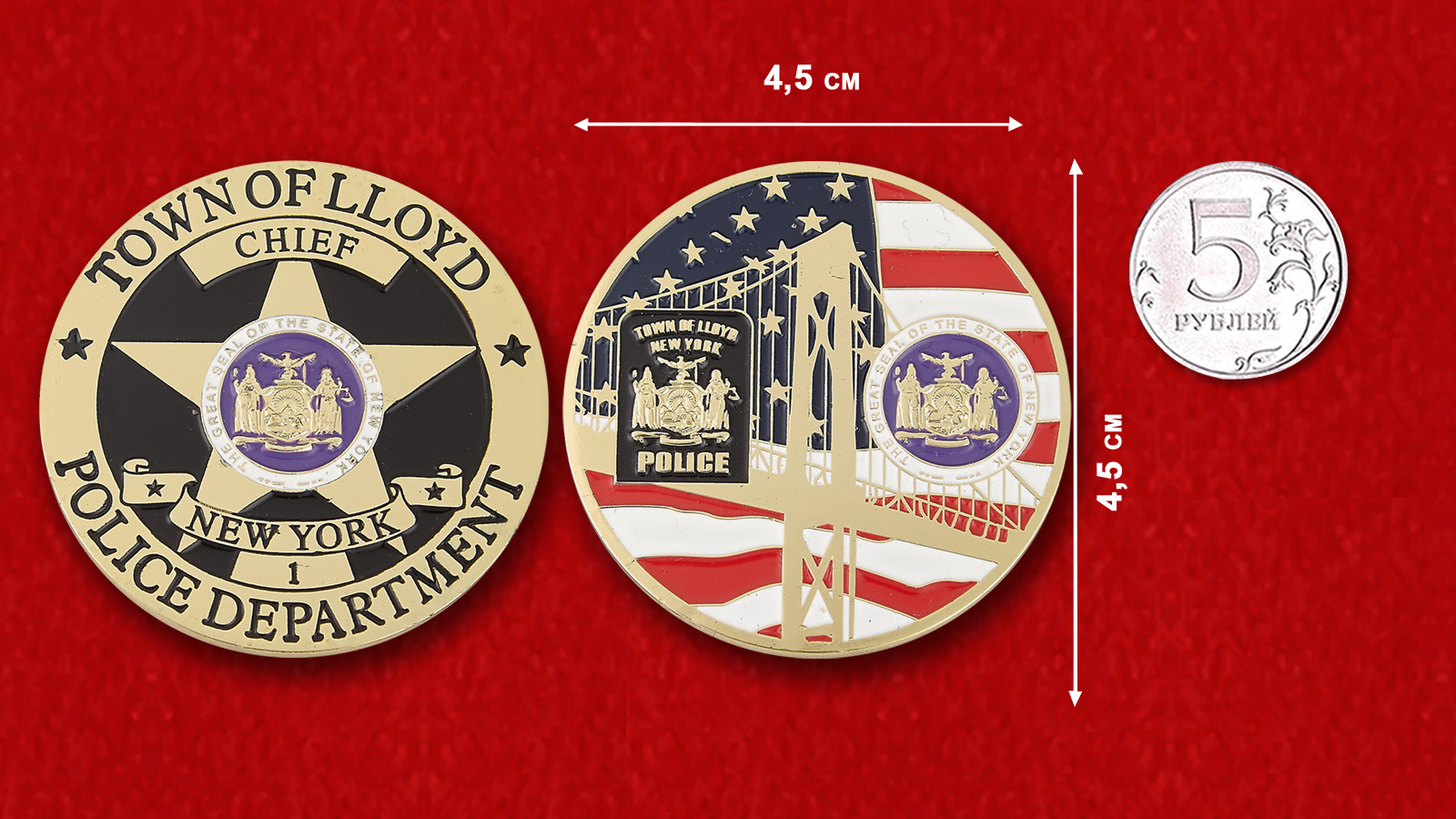 Challenge coin chief of the Police Department Lloyd - comparative size