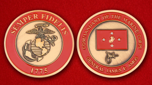 "Challenge Coin ""Commander of the Marine Corps General James F. Amos"" - obverse and reverse"