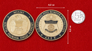 "Challenge Coin ""Customs and Border Protection US in  Miami"" - comparative size"