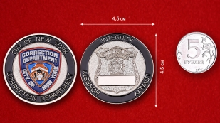 Challenge Coin Department of Corrections in New York City - comparative size