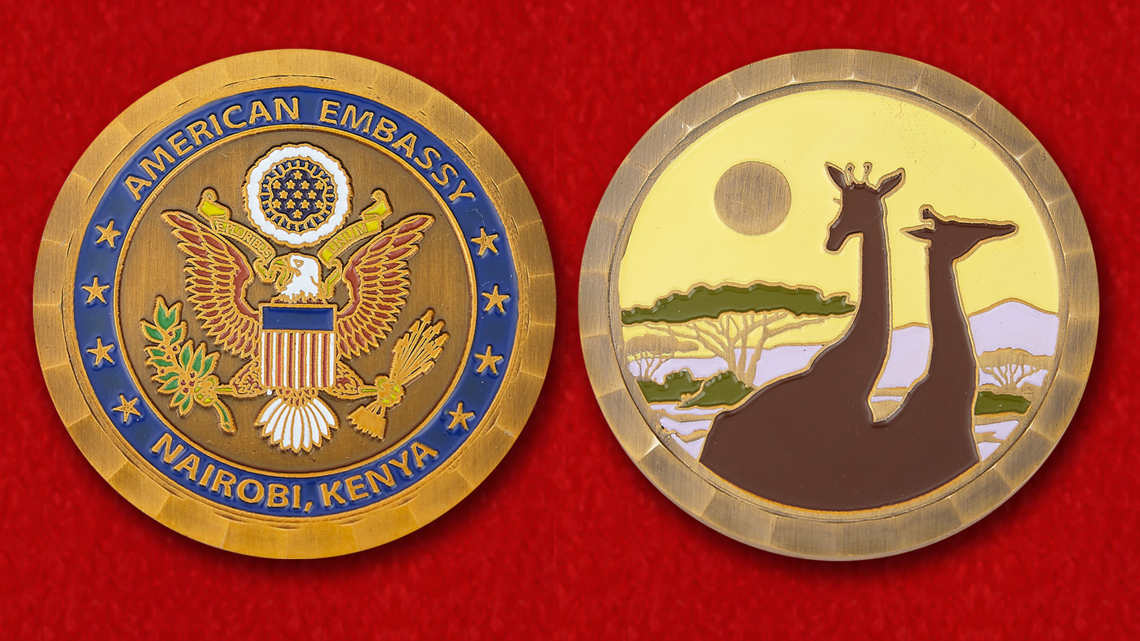 "Challenge Coin ""Embassy of the United States, Nairobi"" - obverse and reverse"