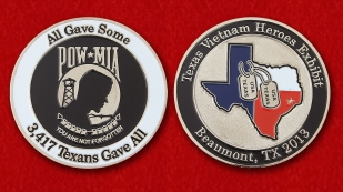 "Challenge Coin ""Exhibition heroes of Vietnam in Beaumont, Texas"" - obverse and reverse"