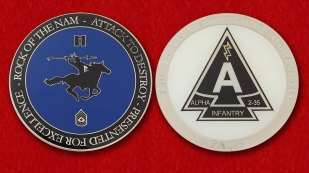 Challenge Coin Group Alpha 2nd Battalion, 35th Infantry Regiment - obverse and reverse