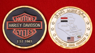 "Challenge Coin ""Harley-Davidson in support of Operation Iraqi Freedom"" - obverse and reverse"