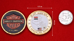 "Challenge Coin ""Harley-Davidson in support of Operation Iraqi Freedom"" -comparative size"