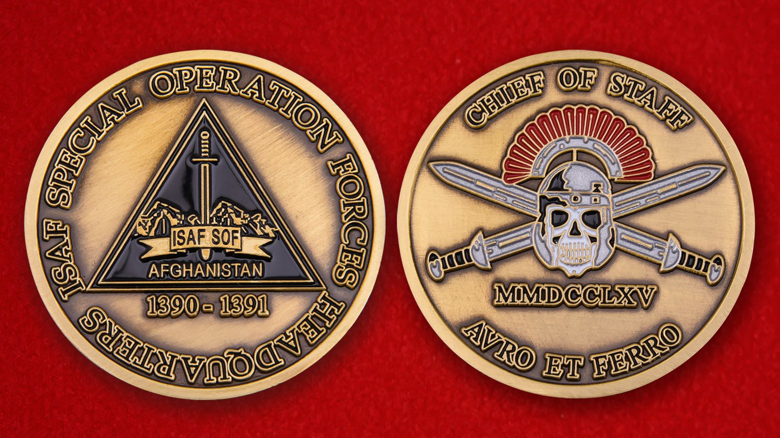 "Challenge Coin ""ISAF special operations force headquarters"" - obverse and reverse"