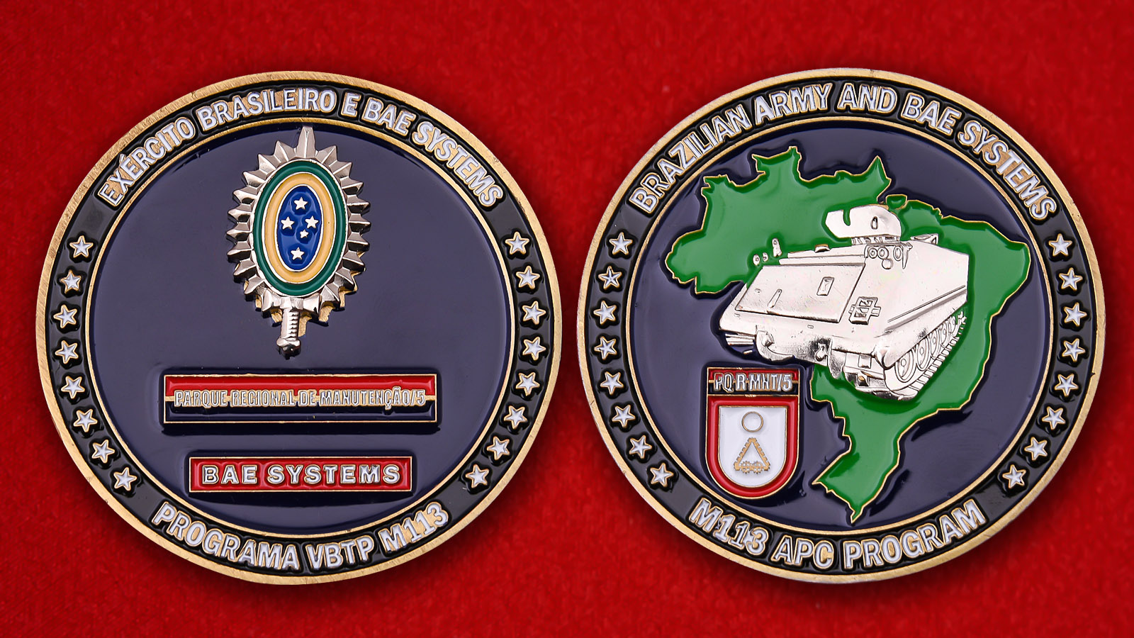 "Challenge Coin ""M113 Armored Personnel Carrier"" - obverse and reverse"