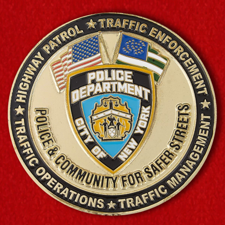 Challenge coin manager of the transportation department of the Police Department of New York
