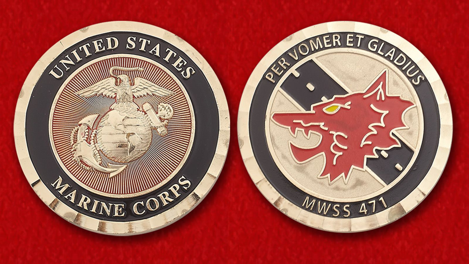 "Challenge Coin ""Marine Wing Support Squadron 471"" - obverse and reverse"