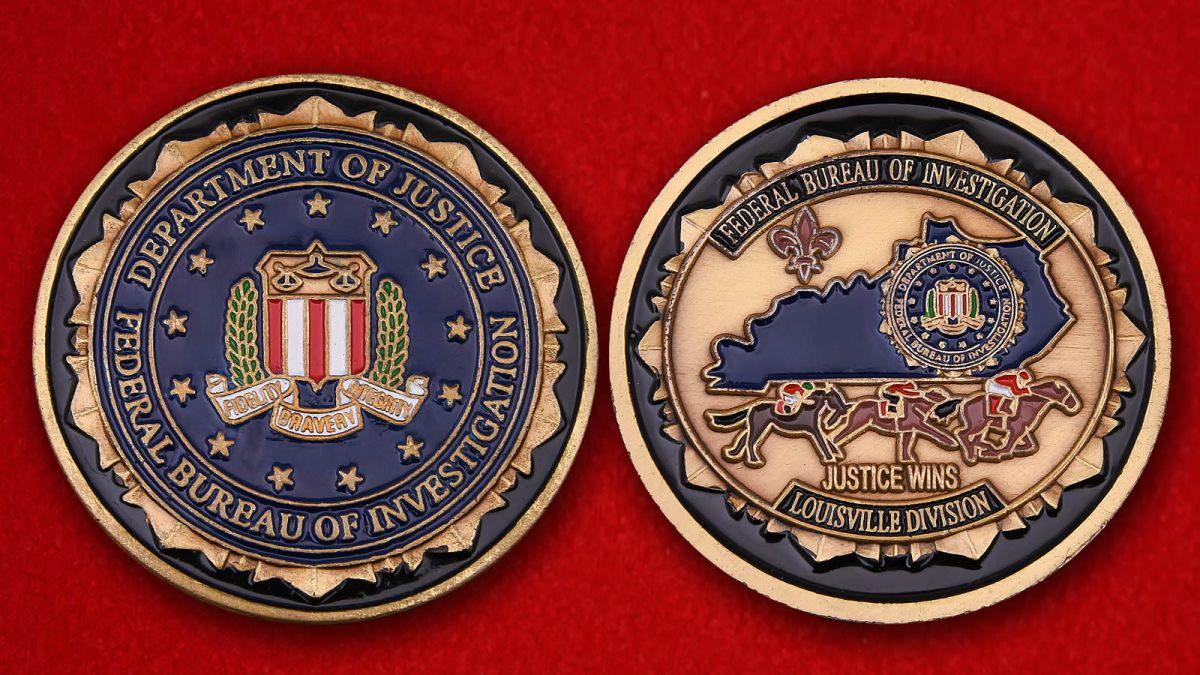 Challenge coin of the Department of Justice FBI - obverse and reverse