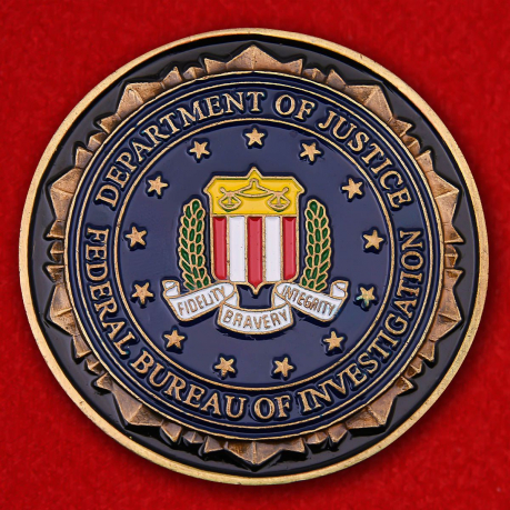 Challenge coin of the Department of Justice FBI in Minneapolis