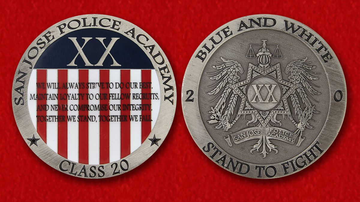 Challenge coin Police Academy in San Jose - obverse and reverse