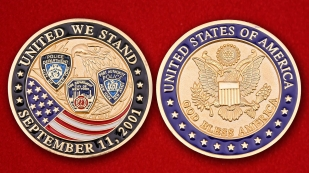 "Challenge Coin ""Police and firefighters in New York, eliminating the effects of the September 11 attacks of 2001"" - obverse and reverse"