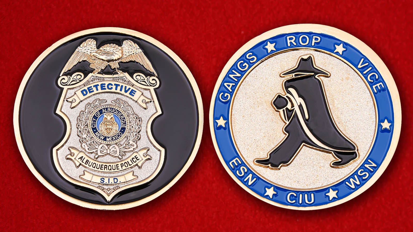 "Challenge Coin ""Police Detective Albuquerque"" - obverse and reverse"