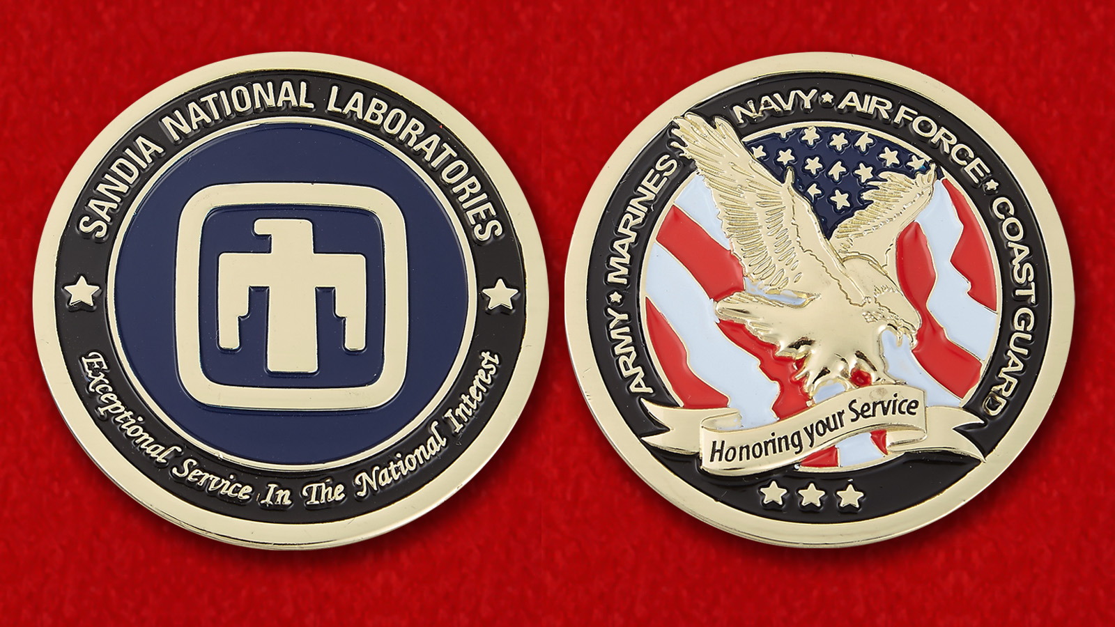 "Challenge Coin ""Sandia National Laboratories"" - obverse and reverse"