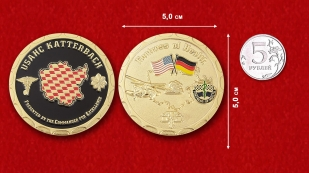 "Challenge Coin ""Сlinic staff of the US Army in Ansbach from the command"" - comparative size"