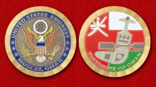 "Challenge Coin ""The US Embassy in Oman"" -obverse and reverse"