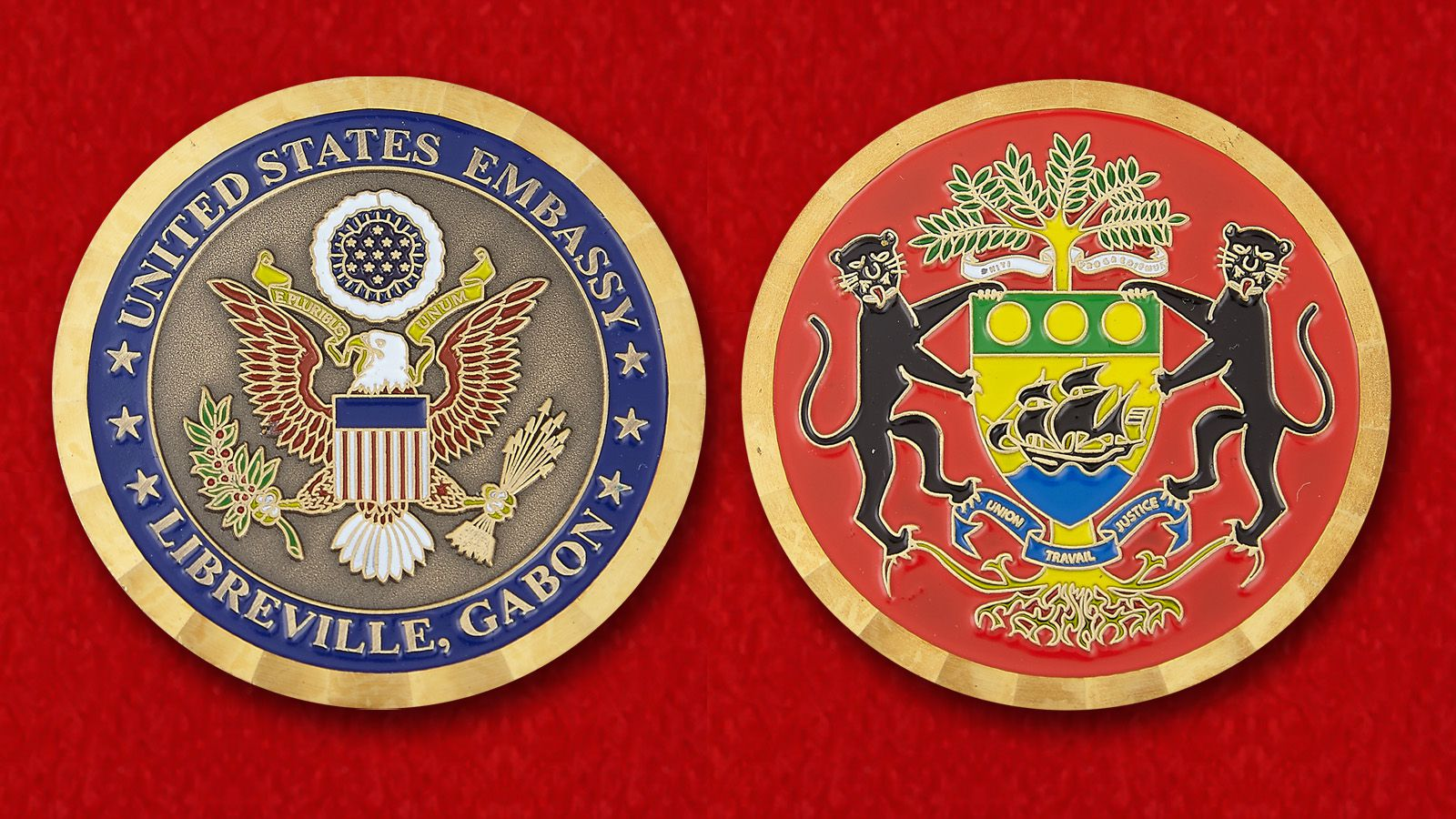 Challenge Coin US Embassy in Libreville - obverse and reverse
