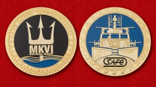"Challenge Coin ""US Navy patrol boat Mark VI"" - obverse and reverse"