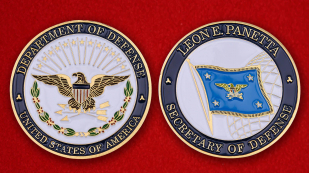 "Challenge Coin ""US State Department Secretary Leon Panetta"" obverse and reverse"