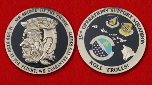 "Challenge Coins ""15th Operations Support Squadron"" - obverse and reverse"