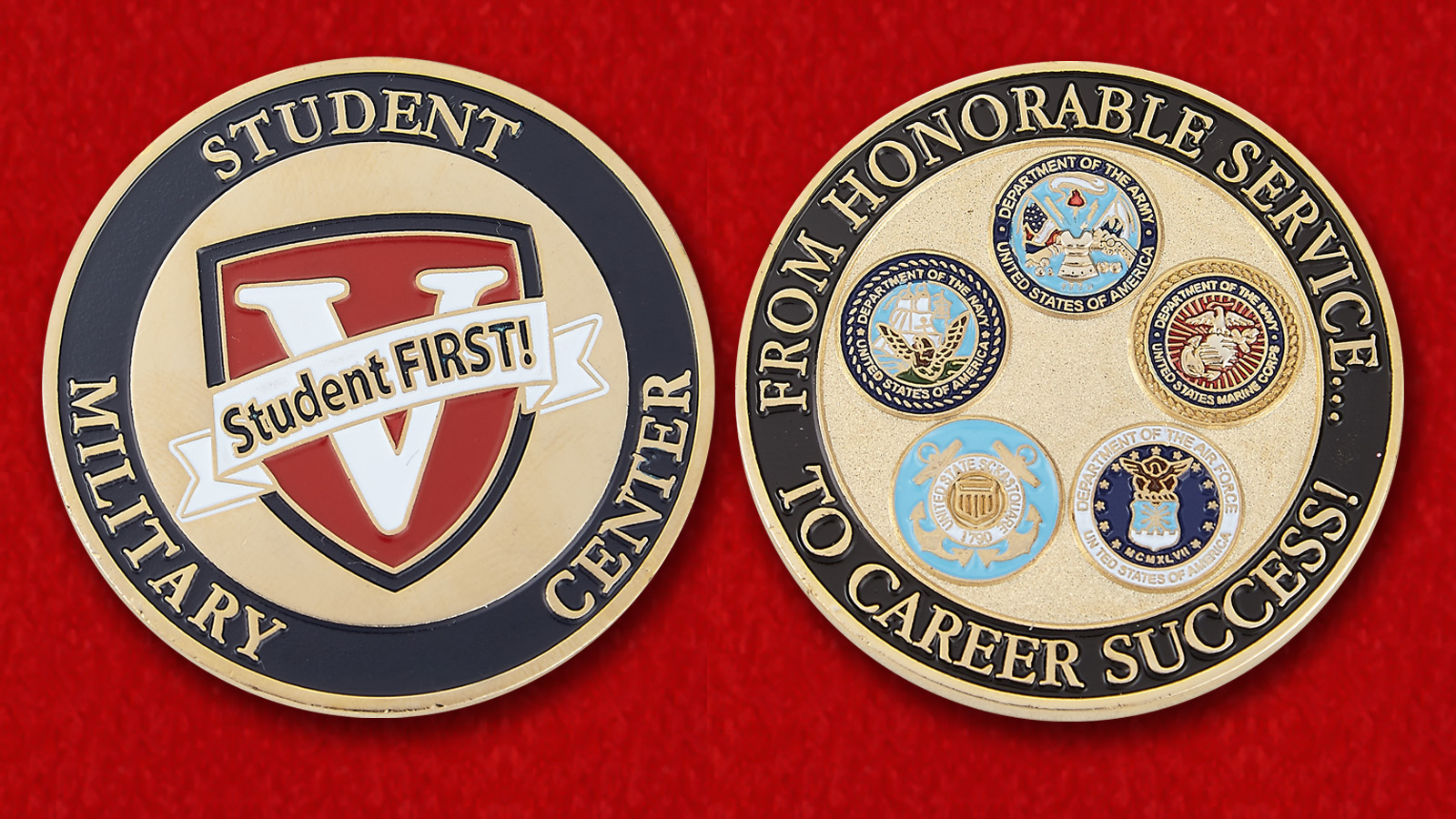 "Challenge Coin ""Military Student Ce- obverse and reversenter"""