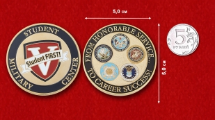 "Challenge Coin ""Military Student Center"" - comparative size"