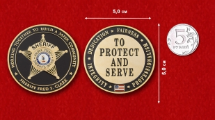 "Challenge Coins ""Sheriff Fred S. Clark"" - comparative size"
