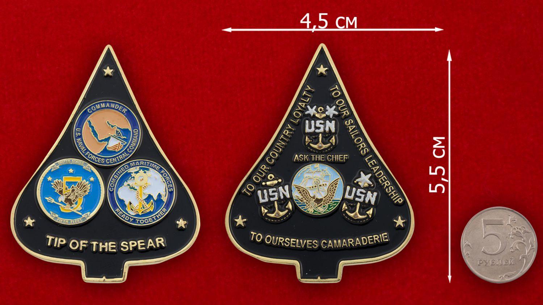 Челлендж коин Военно-морских сил США - сравнительный размер