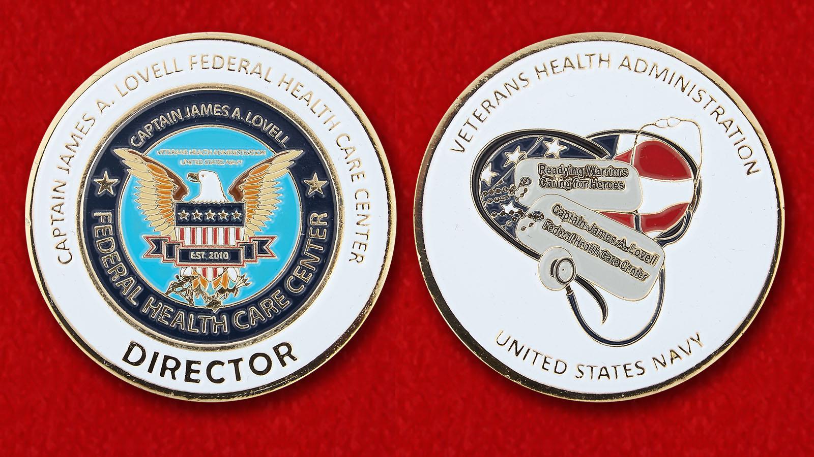 Челледж коин Федерального Центра Здравоохранения имени капитана Джеймса А. Ловелла - аверс и реверс