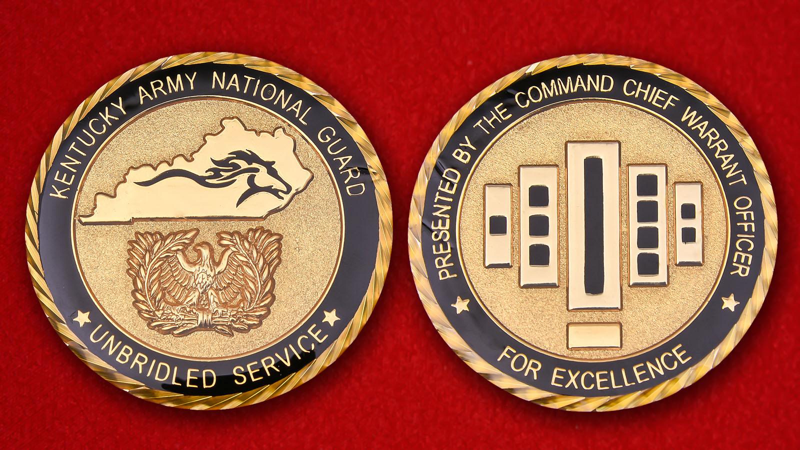 """Челлендж коин """"За отличную службу"""" Национальной гвардии Кентукки - аверс и реверс"""