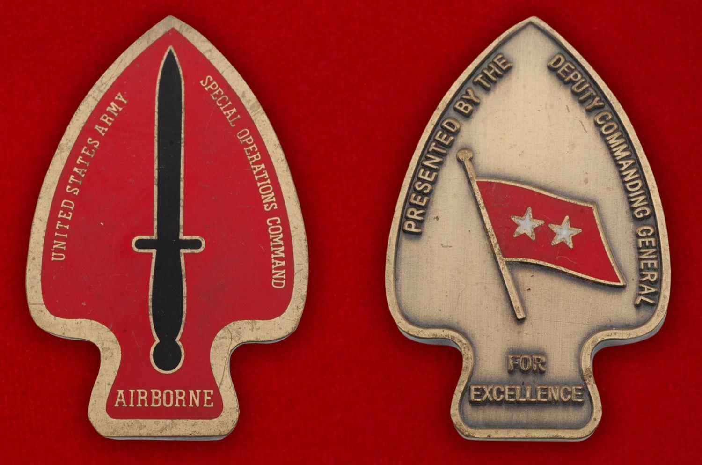 """Челлендж коин """" Подразделению Delta Force специального назначения армии США от Главнокомандующего"""" - аверс и реверс"""
