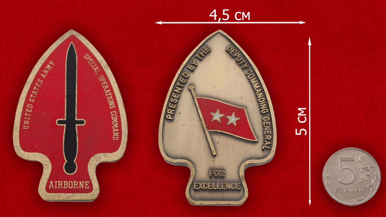 """Челлендж коин """" Подразделению Delta Force специального назначения армии США от Главнокомандующего"""" - сравнительный размер"""