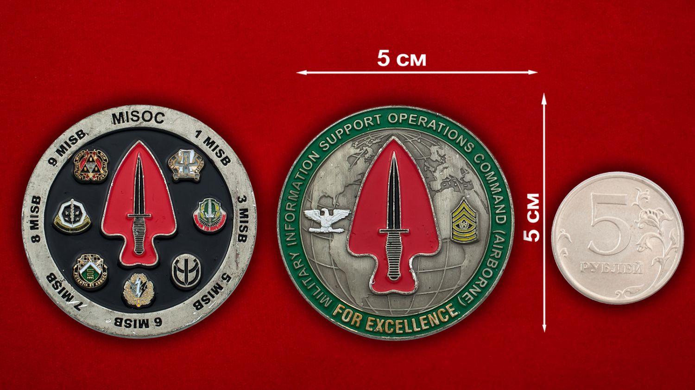 """Челлендж коин """" Военно-информационное обеспечение оперативного командования ВДВ США"""" - сравнительный размер"""